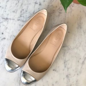 J. CREW Janey Metallic Cap Toe Leather Flats 9.5